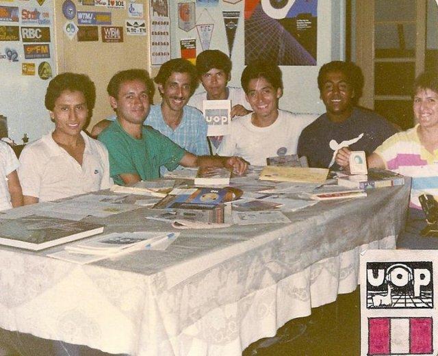 DX meeting of the Unión de Oyentes Peruanos (Peruvian Listeners Union) on Marzo 3, 1987. De izq a der.: Alberto Gamarra, Rafael Rojas Foinquinos, Edgardo Landauro, Carlos Saavedra, César Saavedra, Víctor Calero, and Mery Blas Rojas.