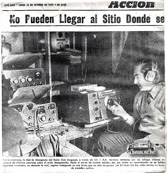 El Radio Club Uruguayo, también montó una estación cabecera de Red de Emergencia. Aquí el radioaficionado Dr. Mario Rebufello, CX4CR. (Diario Acción, 16 de octubre de 1972, archivo Horacio Nigro, colección Manuel A. Barcia /LGdS).